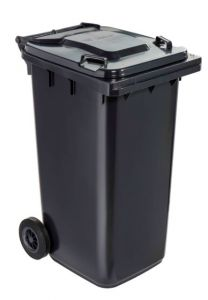 T766620 Grey Plastic waste container for outdoor on 2 wheels 240 liters