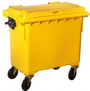 T766641 Contenitore rifiuti da esterno 4 ruote 660 litri GIALLO
