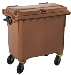 T766654 Brown Plastic waste container for outdoor on 4 wheels 770 liters