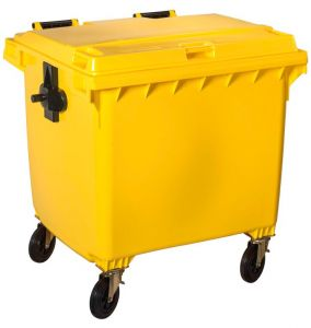T766661 Yellow Plastic waste container for outdoor on 4 wheels 1100 liters