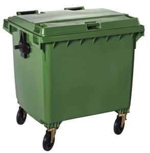 T766663 Green Plastic waste container for outdoor on 4 wheels 1100 liters