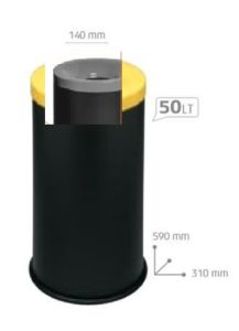 T770014 Fireproof paper bin Black steel with grey colored lid 50 liters