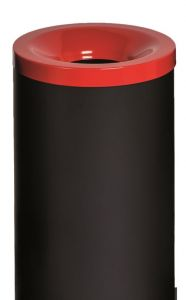 T770017 Fireproof paper bin Black steel with red colored lid 50 liters