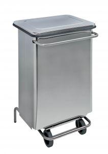 T790660 Stainless steel Wheeled pedal waste bin 70 liters