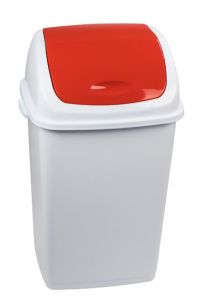 T909057 Polypropylene Swing paper bin White with red lid 50 liters (multiple 6 pieces)