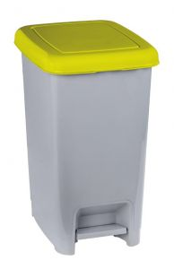 T909966 Grey polypropylene pedal bin with yellow lid 60 liters (multiples 6 pcs)
