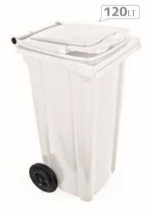 T910125 Waste container 2 wheels 120 liters WHITE without lid